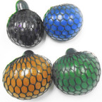 "3"" Metallic Glitter Squishy Mesh Balls 12 per display bx .65 each"