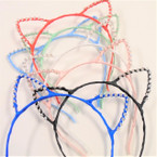 Asst Color Cat's Ear Headbands w/ Clear Crystal Stones .56 ea