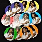 "2.75"" Round Michelle Obama Fashionable Wood Earring Colored Background  .54 each pair"