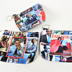 "4.5"" Obama Picture Theme Zipper Coin Purse w/ Key Chain .56 ea"
