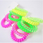 Trendy 6 Pack Phone Coil Ponytailers/Bracelets NEON Color  .56 per set
