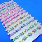 Neon Color Macrame Bracelets w/ Silver Elephant & Turtle Charms 12 per card  .54 ea