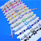 Cord Beaded Bracelet w Silver & Colored  Turtle Charm 12 per cd .56 each