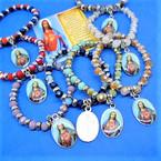 Asst Color Crystal Bead Bracelets w/ Divine Mercy Charm  .56 each