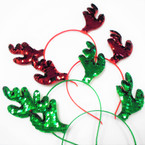 Red & Green Sequin Antler Novelty Christmas Headbands .54 each