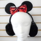 Winter Black Ear Muff w/ Mouse Ears & Sequin Bow 12 per pk $ 2.25 each
