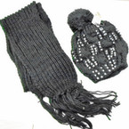Knit Pom Pom Cap w/ Studs & Knit Winter Scarf Set 12 sets per pk $ 3.00 ea set