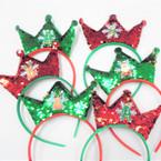 Red & Green Sequin Tiara Headbands w/ Christmas Ornament  .54 each