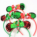 Red & Green Sequin Mouse Ear Headbands w/ Christmas Bow  .54 each
