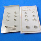 4 Pair Silver Prong Set Cubic Stud Earrings 12 sets per pk .60 ea set