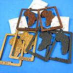 """3.25"""" Wood Frame Africa Map Earrings 3 colors .54 each pair"""