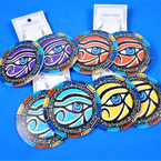 "2.5"" Multi Color Wood Fashion  Earrings Egyptian Eye Theme .54 each pair"