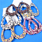 "3"" Oval Multi Color Cloth Wrapped Fashion  Earrings  .54 each pair"