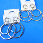 "2.5"" Stainless Look Gold & Silver Multi Ring Earrings .54 per pair"