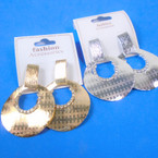 "2.5"" Textured Look Gold & Silver Door Knocker Look  Earrings .54 per pair"