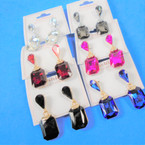 Classy Jeweltone  Look  Glass Fashion Earrings  .54 per pair