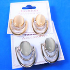 Classy Oval  Gold & Silver Fashion Earrings w/ Mini Crystals   .54 per pair