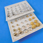 12 Pair Gold & Silver Stud Fashion Earrings .54 per set