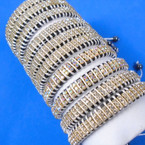 Cord Fashion Bracelet Triple Row AB & Clear Crystal Stones .56 each