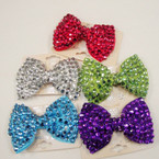 "3.5"" Gator Clip Bow Loaded w/ Bright Color Stones HOT SELLER .58 each"