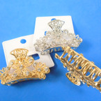 "2.5"" Best Quality Filigree Look Metal Jaw Clips w/ Crystals 12 per pk .56 each"