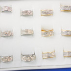 Gold & Silver Stainless Steel Band Rings w/ Clear Crystal Stones 12 per bx .54 each