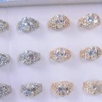 Chunky Gold & Silver Crystal Stone Fashion Rings 12 per bx  .56 each