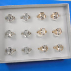 Gold & Silver Prong Set Crystal Stone Fashion Rings 12 per bx .54 each