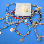 Crystal Bead Stretch Bracelets w/ San Benito Charms .56 each
