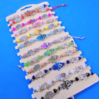 Cord Beaded Bracelets w/ Colorful Hamsa Charm 12 per card .54 each