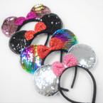 "Sequin Mouse Ear Headbands w/ 3.5"" Sparkle Bows  12 per pk .58 each"