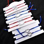 2 Pack Red & Blue Cord Bracelet Sets Silver Love / Heart Charms .54 per set