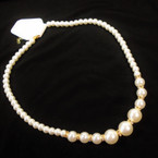"Best Quality 20"" Glass Pearl Necklace w/ Crystal Stones 12 per pk .54"
