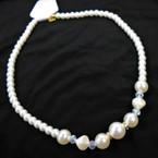 "Best Quality 20"" Glass Pearl Necklace w/ Crystal & AB  Stones 12 per pk .75 each"