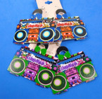 "3"" Fun Boom Box Theme Wood Earrings Asst Colors .54 per pair"