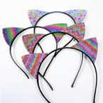Trendy Cat's Ear Headbands Rainbow Color Crystal Stones 12 per pk  .56 each