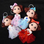 "Cutest 4.5"" Dressed Up Doll Keychains 12 per pk (98) .56 each"