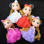 "Cutest 4.5"" Dressed Up Doll Keychains 12 per pk (97) .56 each"
