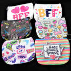 "5"" Best Friend Theme Zipper Coin Purse w/ Keychain 12 per pk (662) .56 each"