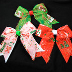 "5"" Layered Christmas Tail Bows w/ Glitter 3 colors   .54 each"