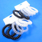 Trendy 6 Pack Phone Coil Ponytailers/Bracelets Blk/White/Clear .56 per set