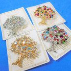 "2"" Gold & Silver Tree of Life Broach Loaded w/ Crystal Stones 12 per pk .58 each"