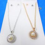 Gold & Silver Necklace Set w/ Pearl & Cry. Stone Pendant .58 per set