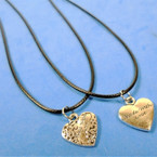 "16""-18"" Black Cord Necklaces w/ Made with Love Silver Heart Pend. 24 per pk .30 each"