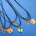 "16""-18"" Black Cord Necklaces w/ Tree of Life Pendants 24 per pk .30 each"