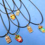 """16""""-18"""" Black Cord Necklaces w/ 2 Style Owl  Pendants 24 per pk .30 each"""