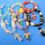 Multi Style Beaded Bracelet w/ Crystal Angel  Charm .56 each