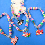 Colorful Disc & Cry. Stone Bracelets w/ Shark Pendant  .54 each