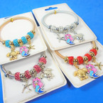 Gold & Silver Spring Style Bracelet w/ Sealife/Mermaid  Theme  .56 ea