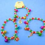 Crystal Bead & Jingle Bell Christmas Charm Bracelets .56 each